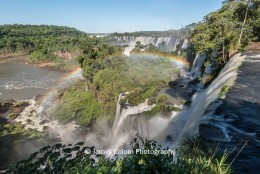 Rainbow over waterfalls at Iguazu, Argentina
