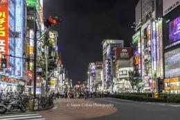 Shinjuku road crossing at night, Tokyo