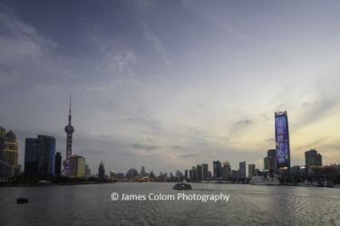 Shanghai Cityscape as seen from boat on The Bund, Shanghai, China