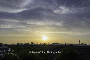 Sunset over Xi'an City Wall, Xian, China