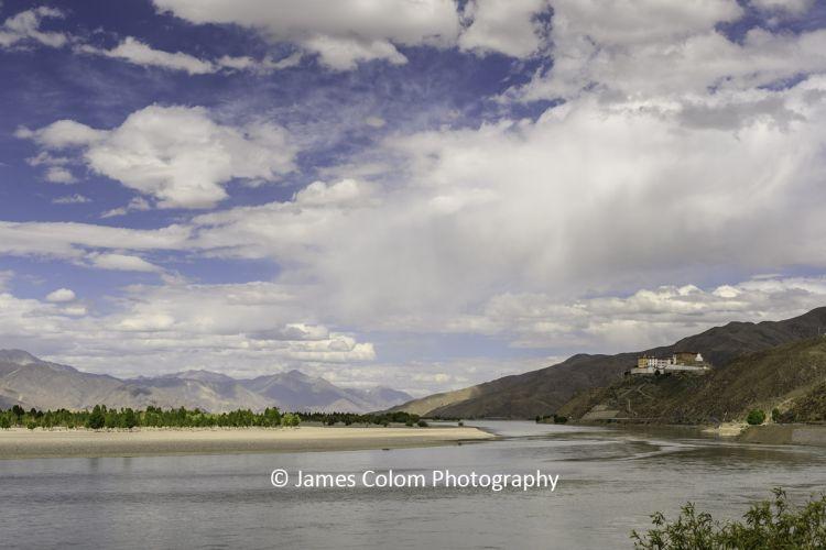 Tibetan Buddhist Temple on the Yarlung Zangbo River, near Lhasa, Tibet, China