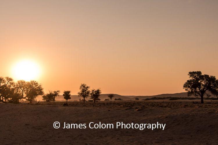 Sunset over Sossussvlei Camp, Namib Naukluft National Park, Namibia