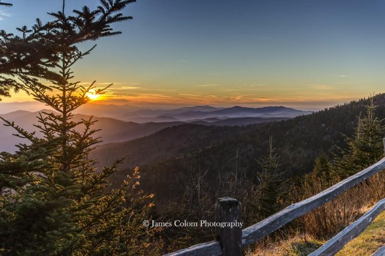 Sunset over the Great Smoky Mountains from Clingman's Dome, South Carolina, USA