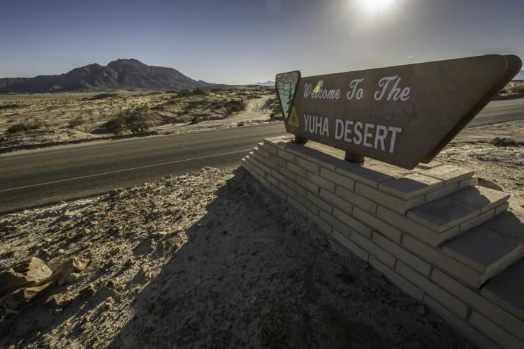 Welcome to Yuha Desert sign on I-8, California