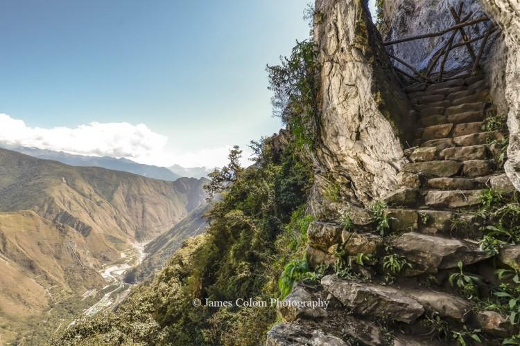 Inca Bridge secret entrance to Machu Picchu, Peru