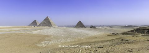 View or Great Pyramid (Khufu), Pyramid of Khafre at Giza Pyramids, Giza, Cairo, Egypt